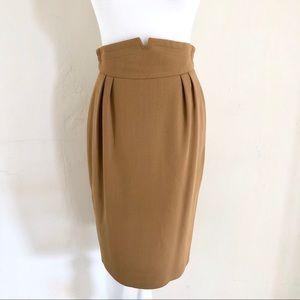 Escada Camel Tan Virgin Wool Blend Pencil Skirt